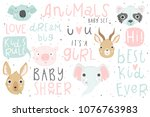 cute animals isolated...   Shutterstock .eps vector #1076763983