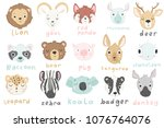 15 stickers with cute animals... | Shutterstock .eps vector #1076764076
