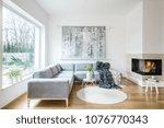 white sitting room interior... | Shutterstock . vector #1076770343