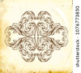 retro baroque decorations... | Shutterstock .eps vector #1076773850