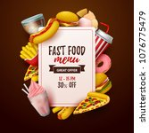 colorful fast food  background. ... | Shutterstock .eps vector #1076775479