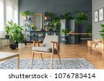 vintage  gray armchair in the... | Shutterstock . vector #1076783414