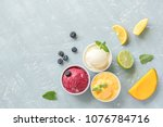 three various fruit and berries ... | Shutterstock . vector #1076784716