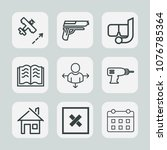 premium set of outline icons.... | Shutterstock .eps vector #1076785364