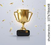golden champion cup isolated on ... | Shutterstock .eps vector #1076786648