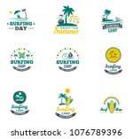 set collectionh summer surfing... | Shutterstock .eps vector #1076789396