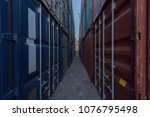 industrial port with containers.... | Shutterstock . vector #1076795498