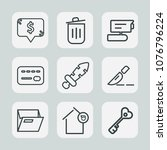 premium set of outline icons.... | Shutterstock .eps vector #1076796224