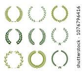 set of laurel wreaths. heraldic ...   Shutterstock .eps vector #1076796416