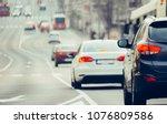 traffic jam on urban street in...   Shutterstock . vector #1076809586