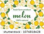 vector illustration of melon... | Shutterstock .eps vector #1076818628