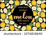 vector illustration of melon... | Shutterstock .eps vector #1076818640