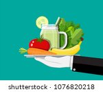 tray with organic products.... | Shutterstock .eps vector #1076820218