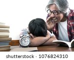 children sleep during class ... | Shutterstock . vector #1076824310