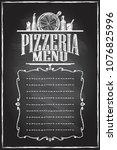 pizzeria menu chalkboard menu... | Shutterstock .eps vector #1076825996