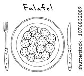 falafel on a plate top view... | Shutterstock .eps vector #1076832089