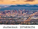 Stock photo phoenix arizona usa downtown cityscape at dusk 1076836256