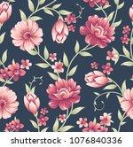 seamless vintage flower pattern ... | Shutterstock .eps vector #1076840336