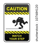 square caution sign with ... | Shutterstock . vector #107684120