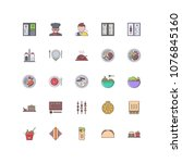 restaurant filled outline icons ... | Shutterstock .eps vector #1076845160