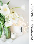 large bouquet of white spring... | Shutterstock . vector #1076846174