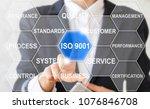 business girl clicks on a iso... | Shutterstock . vector #1076846708