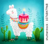 illustration of a cute llama | Shutterstock . vector #1076847968