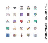school filled outline icons 25 | Shutterstock .eps vector #1076856713