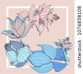 colorful silk scarf with...   Shutterstock .eps vector #1076858108