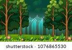 dark rainforest with big trees... | Shutterstock .eps vector #1076865530