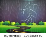 road trip under thunderstorm... | Shutterstock .eps vector #1076865560