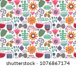floral seamless pattern | Shutterstock .eps vector #1076867174
