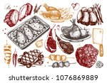 vector collection of hand drawn ... | Shutterstock .eps vector #1076869889