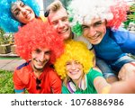 football supporter fans friends ... | Shutterstock . vector #1076886986