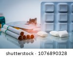 nicotine chewing gum in blister ... | Shutterstock . vector #1076890328