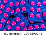 full frame of pile of ibuprofen ... | Shutterstock . vector #1076890343