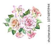 watercolor flowers bouquet of... | Shutterstock . vector #1076895944