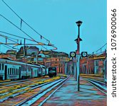 Railway Platform And Trains In...
