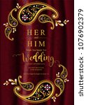 wedding invitation card... | Shutterstock .eps vector #1076902379