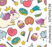 unicorn sweet and donut set of... | Shutterstock .eps vector #1076906738