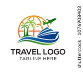 travel logo template  holiday... | Shutterstock .eps vector #1076908403