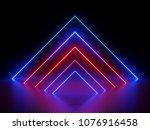 3d render  glowing lines  neon... | Shutterstock . vector #1076916458