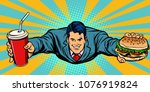 businessman flying  fast food... | Shutterstock .eps vector #1076919824