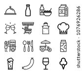 set of 16 food outline icons... | Shutterstock .eps vector #1076926286