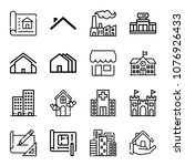 set of 16 buildings outline... | Shutterstock .eps vector #1076926433