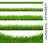 big grass borders set  vector... | Shutterstock .eps vector #1076930879