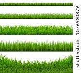 big grass borders set  vector... | Shutterstock .eps vector #1076930879