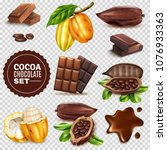 set of realistic fresh and... | Shutterstock .eps vector #1076933363