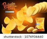 potato chips advertising...   Shutterstock .eps vector #1076936660