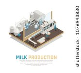 dairy production milk factory... | Shutterstock .eps vector #1076943830
